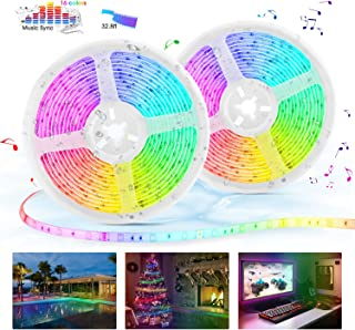 LED Strip Lights with Remote, 32.8ft LED Music Sync Tape Lights kit 5050 RGB Color Changing Light Strip with IP65 Waterproof, 300LEDs Rope Light for Bedroom, Room, Party, Mood Tape Lighting