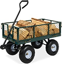 Best Choice Products Heavy-Duty Steel Garden Wagon Lawn Utility Cart w/ 400-pound Capacity, Removable Sides, Long Handle, and 10-Inch Tires, Green
