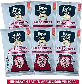 LesserEvil Grain Free Paleo Puffs, Himalayan Salt + Apple Cider Vinegar, 5 Ounce, 6 Count