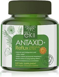 Gree Ekii's Antaxid Natural Reflux, Heartburn, Acid Indigestion Relief - Unique Calendula & Calcium Formula - 60 Vegan Fri...