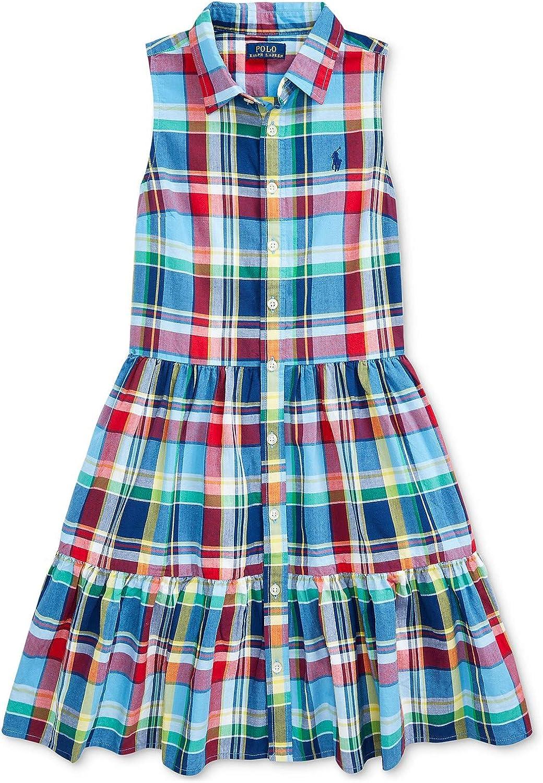 Ralph Lauren Polo Big Girls Cotton Plaid Madras Shirtdress Dress (Numeric_12)
