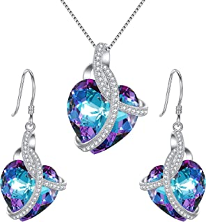 EleQueen 925 Sterling Silver CZ Courageous Heart Inspired Pendant Necklace Hook Earrings Set Vitrail Light Made with Swarovski Crystals