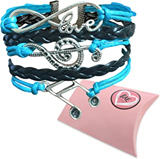 Love Music Bracelet Musical Jewelry | Infinity Treble Clef Bracelet | Features Infinity Charm and Music Notes | Music Gift for Piano Teacher or Music Teacher comes in a Gift Pack.