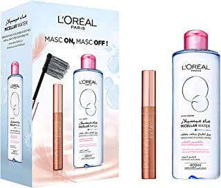L'Oreal Paris Micellar Cleansing Water, 400 ml with Voluminous Paradise Mascara - Pack of 1