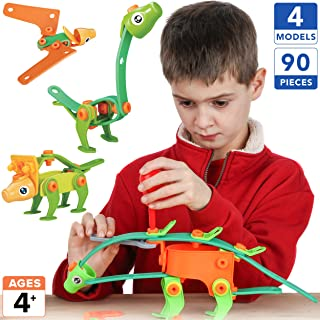 Toy Pal STEM Toys for 4-8 Year Old Boys Girls | 4 in 1 Dinosaur Building Set | 90 Pc Educational STEM Kit for Kids Ages 4 5 6 7 8 9 | Fun Birthday Gift