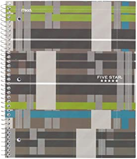 """Five Star Spiral Notebook, 1 Subject, College Ruled Paper, 100 Sheets, 11"""" x 8-1/2"""" Sheet Size, Graphics Brown (73243)"""