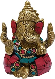 PARIJAT HANDICRAFT The Blessing God. A Colored & Gold Statue of Lord Ganesh Ganpati Elephant Hindu God Made from Solid Bra...