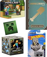 Construct Cart Compatible with Minecraft Minecart car Bundled Craftables buildable figure blind box Steve Alex Player Character ornament & Creeper Sticker + Essential Construction Handbook 4 items