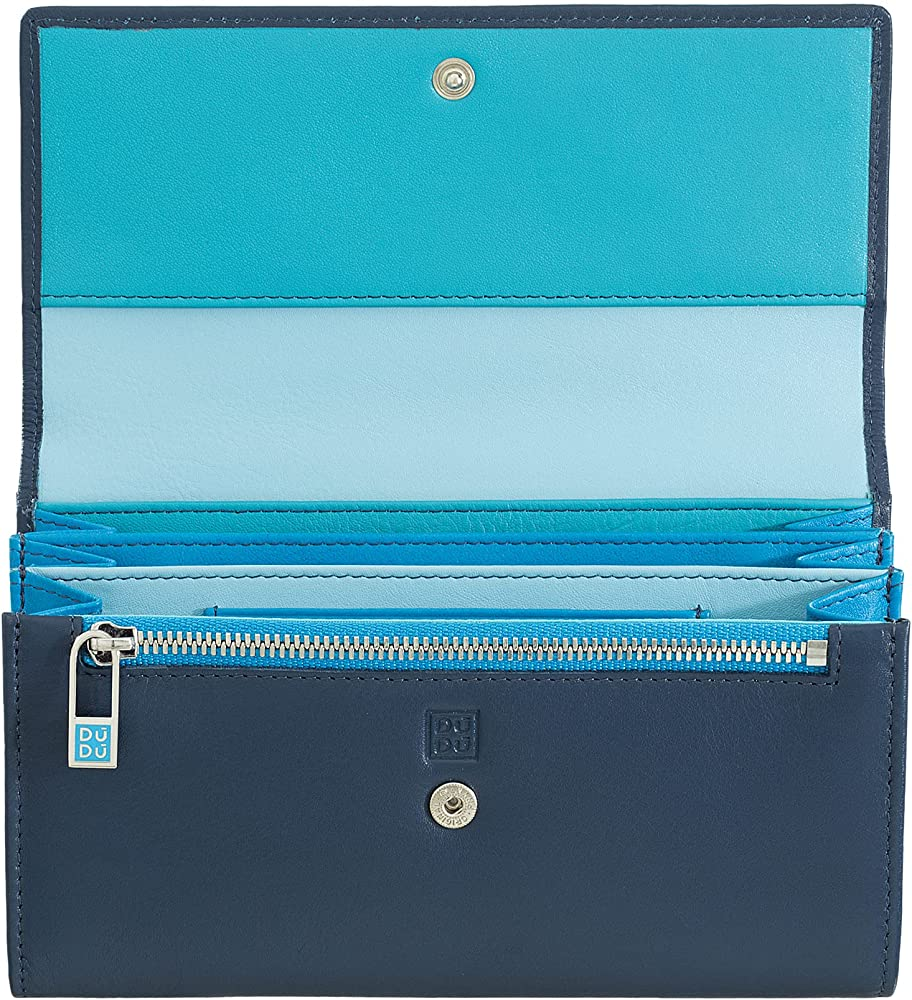Dudu, portafoglio, porta carte di credito a bustina, per donna, in pelle, blu 534-1165-14