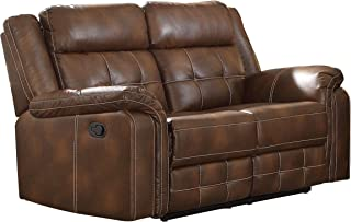 "Homelegance Keridge 65"" Leath-Aire Reclining Loveseat, Brown"