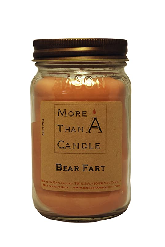 電気的ページェントのMore Than A Candle BRF16M 16 oz Mason Jar Soy Candle, Bear Farts