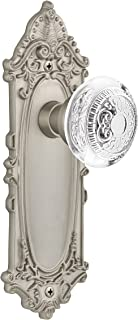 """(satinnickel, 2-3/8"""") - Nostalgic Warehouse Egg and Dart Privacy Door Knob with Victorian Plate"""