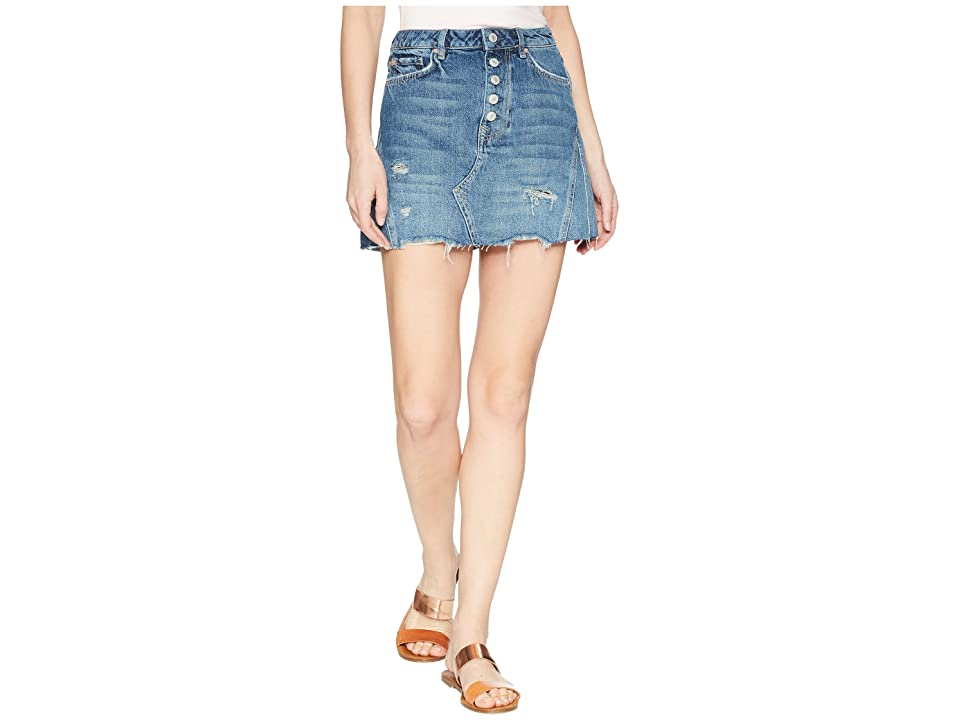 Free People Denim A-Line Mini Indigo (Dark Denim) Women