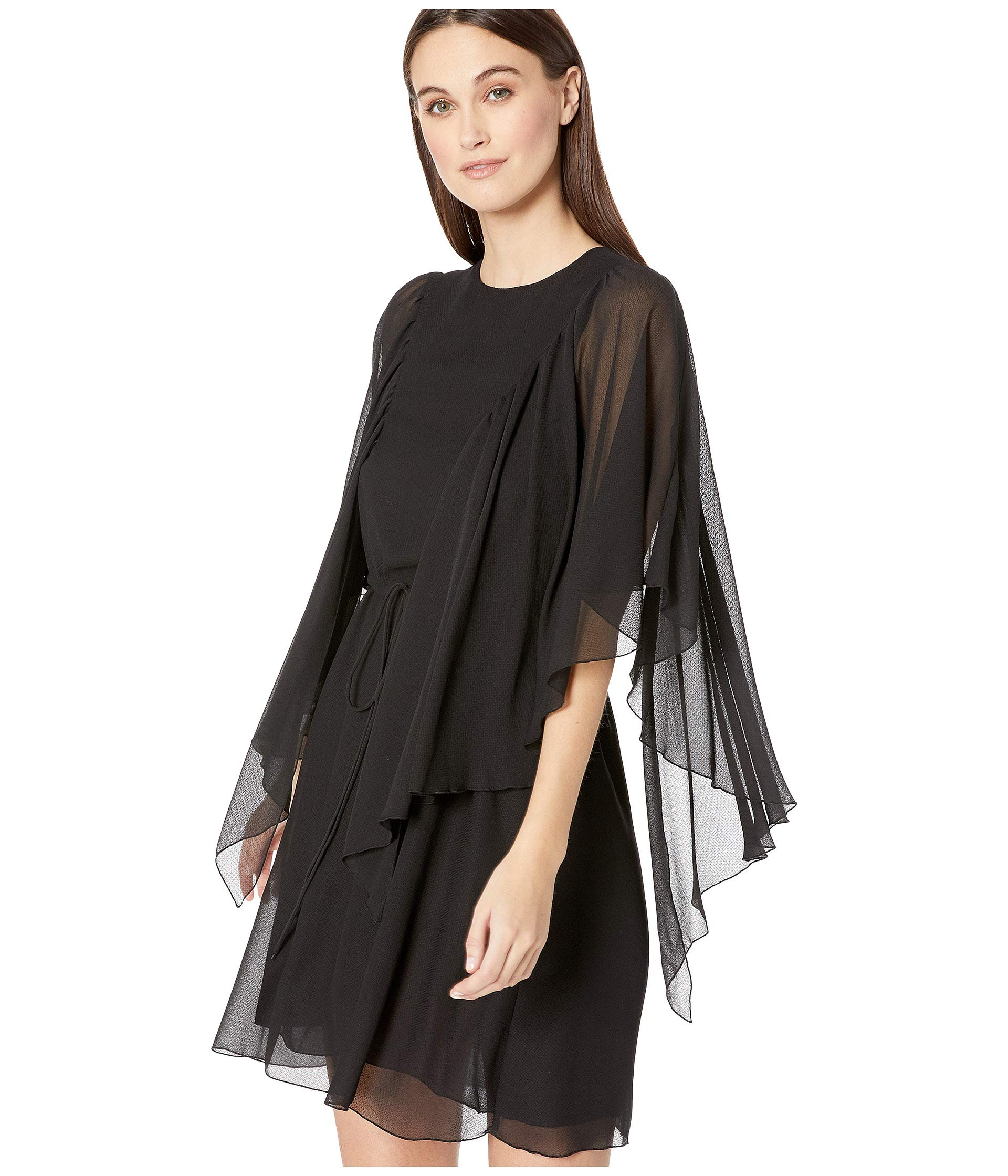 By See Textured Black Flutter Dress Georgette Chloe Sleeve dBxwnr0TBq