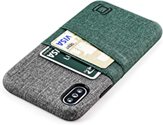Dockem Luxe M2 Wallet Case for iPhone Xs/X: Built-in Invisible Metal Plate, Designed for Magnetic Mounting: Slim Canvas Style Synthetic Leather Card Case: M-Series [Dark Green and Grey]