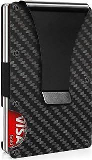 Carbon Fiber Wallet, Money Clip Wallet, Minimalist RFID Blocking Minimalist Metal Wallet for Men (Dark)