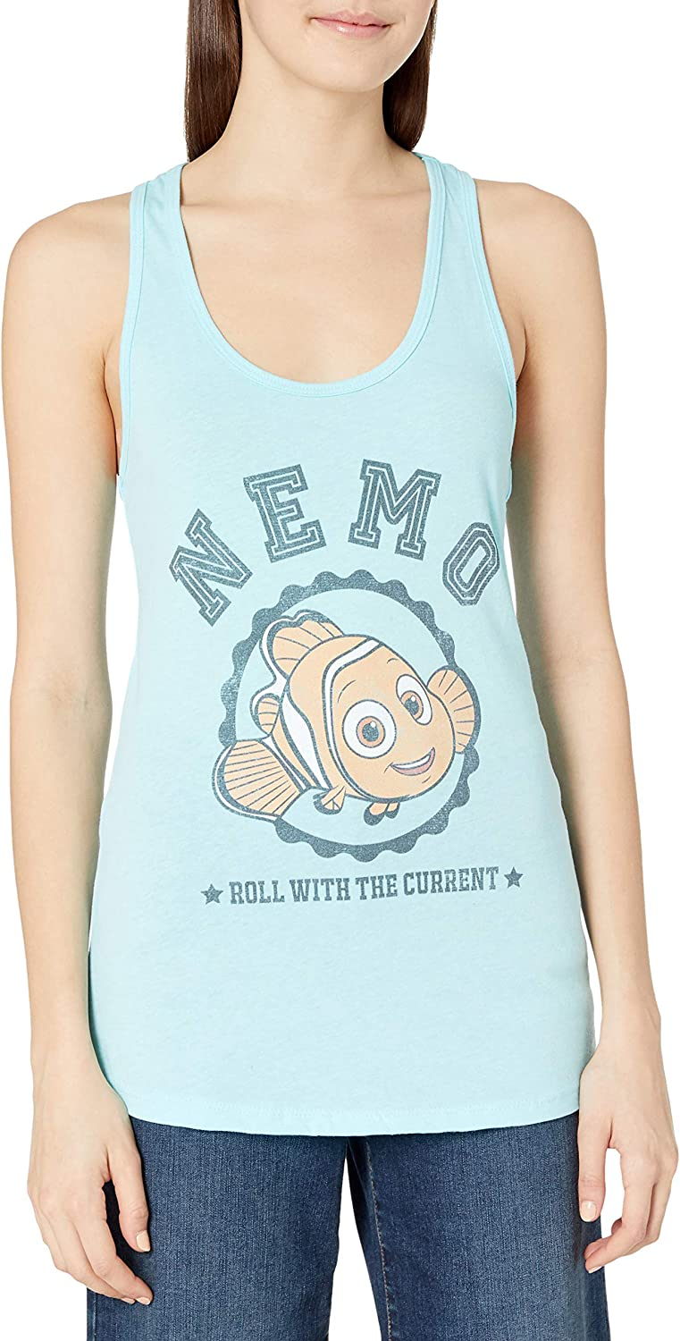 Disney Women's Slim Finding Dory Nemo Roll with Current Racerback Tank Top