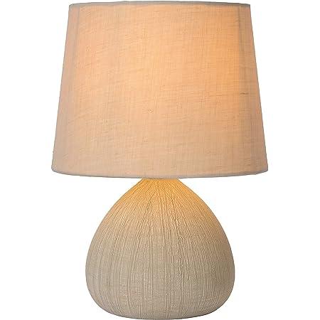 Lucide 47506/81/38 Ramzi Lampe de Table, Céramique, E14, 40 W, Crème, 18 x 18 x 26 cm