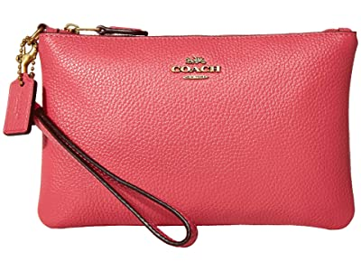 COACH Polished Pebble Small Wristlet (B4/Confetti Pink) Wristlet Handbags