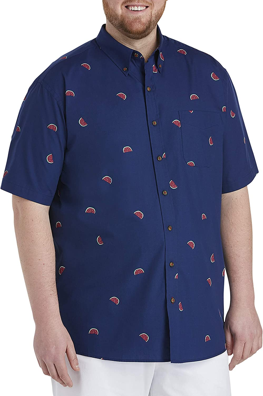 Harbor Bay by DXL Big and Tall Easy-Care Watermelon Sport Shirt, Navy