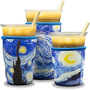 Reusable Insulated Neoprene Iced Coffee Beverage Sleeves - Cold Drink Cup Holder for Starbucks Coffee, McCafe, Dunkin Donuts, Tim Hortons and More   (The Starry Night)