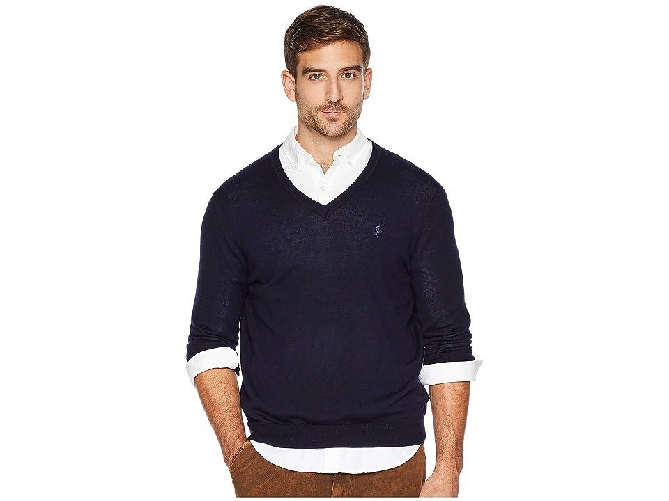 Polo Ralph Lauren Washable Merino V-Neck Sweater (Hunter Navy) Men
