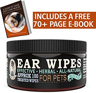 Mister Ben's Original XXL Treated Ear Cleaner Wipes w/Aloe for Dogs, Cats Small Pets – Most effective wipes soothe & clean odors, itching, and irritations – Approx 100 extra large 3