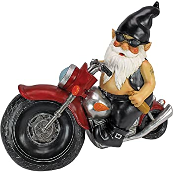 Design Toscano Axle Grease the Biker Garden Gnome Motorcycle Statue, 13 Inch, Polyresin, Full Color