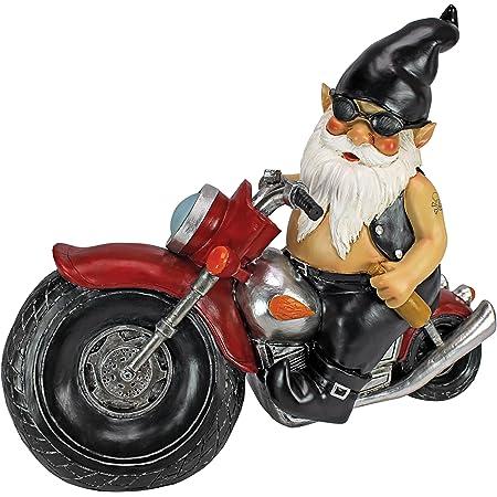 Design Toscano Essieu Graisse Le Motard Gnome de Jardin Statue de Moto, 33 cm, polyrésine, palette complète de couleur