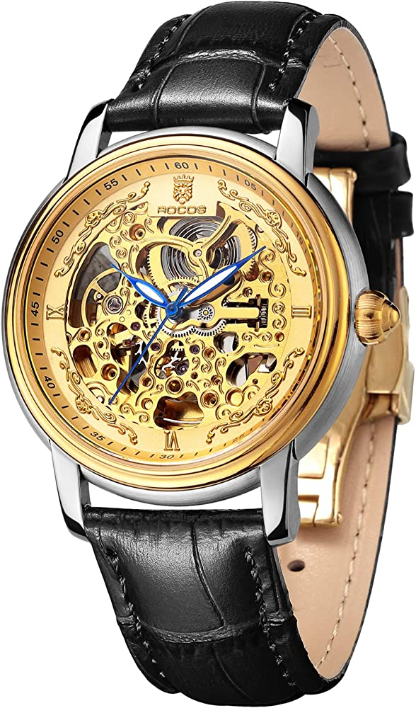 Rocos, orologio automatico per uomo,cassa in acciaio 316 l e cinturino in vera pelle R0142