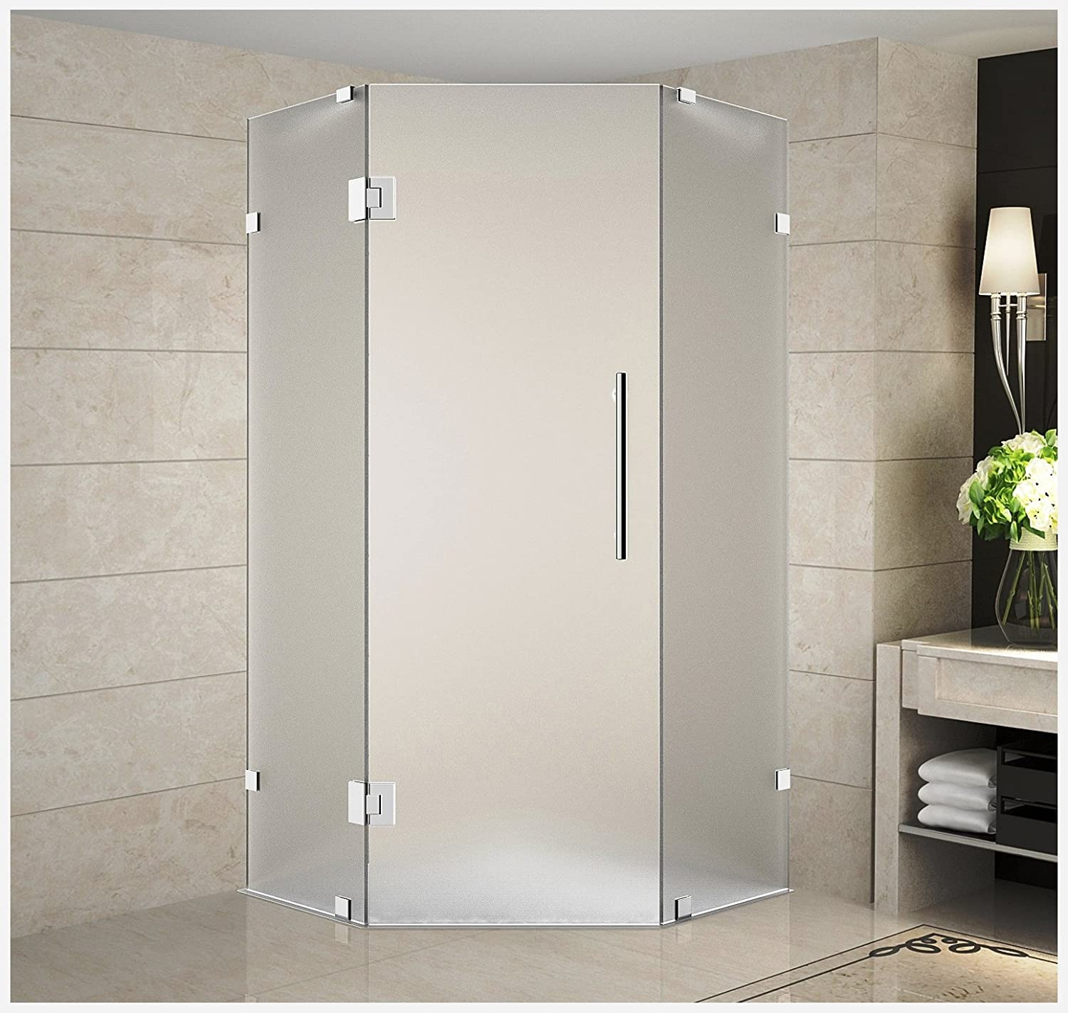 Aston Sen986f Ch 38 10 Neoscape Completely Frameless Neo Angle Shower Enclosure In Frosted Glass Polished Chrome 38 X 38 X 72