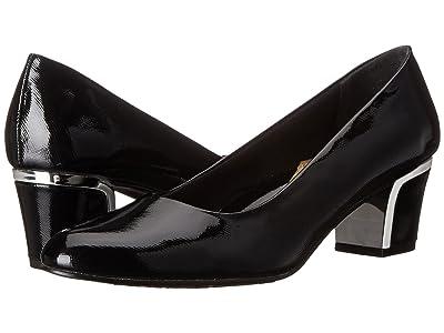 Soft Style Deanna (Black Cross Hatch Patent/Silver) Women