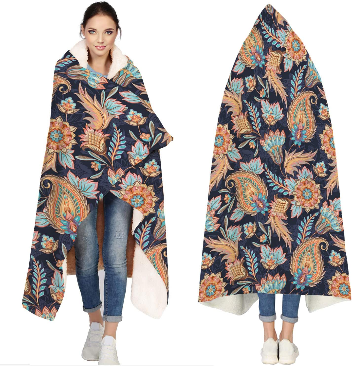 Seven Roses Hooded Blankets for Indian Patte Opening large release sale Max 65% OFF Traditional Adults