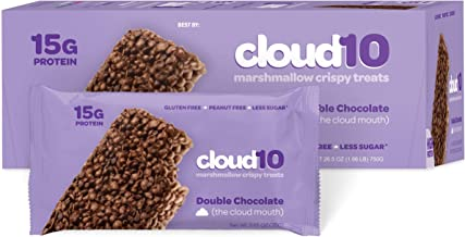 Cloud10 High Protein, Gluten Free, Dairy Free, Kosher, No Artificial Sweeteners, Peanut Free, Non-GMO, Marshmallow Crispy Treats, Double Chocolate (Pack of 10)
