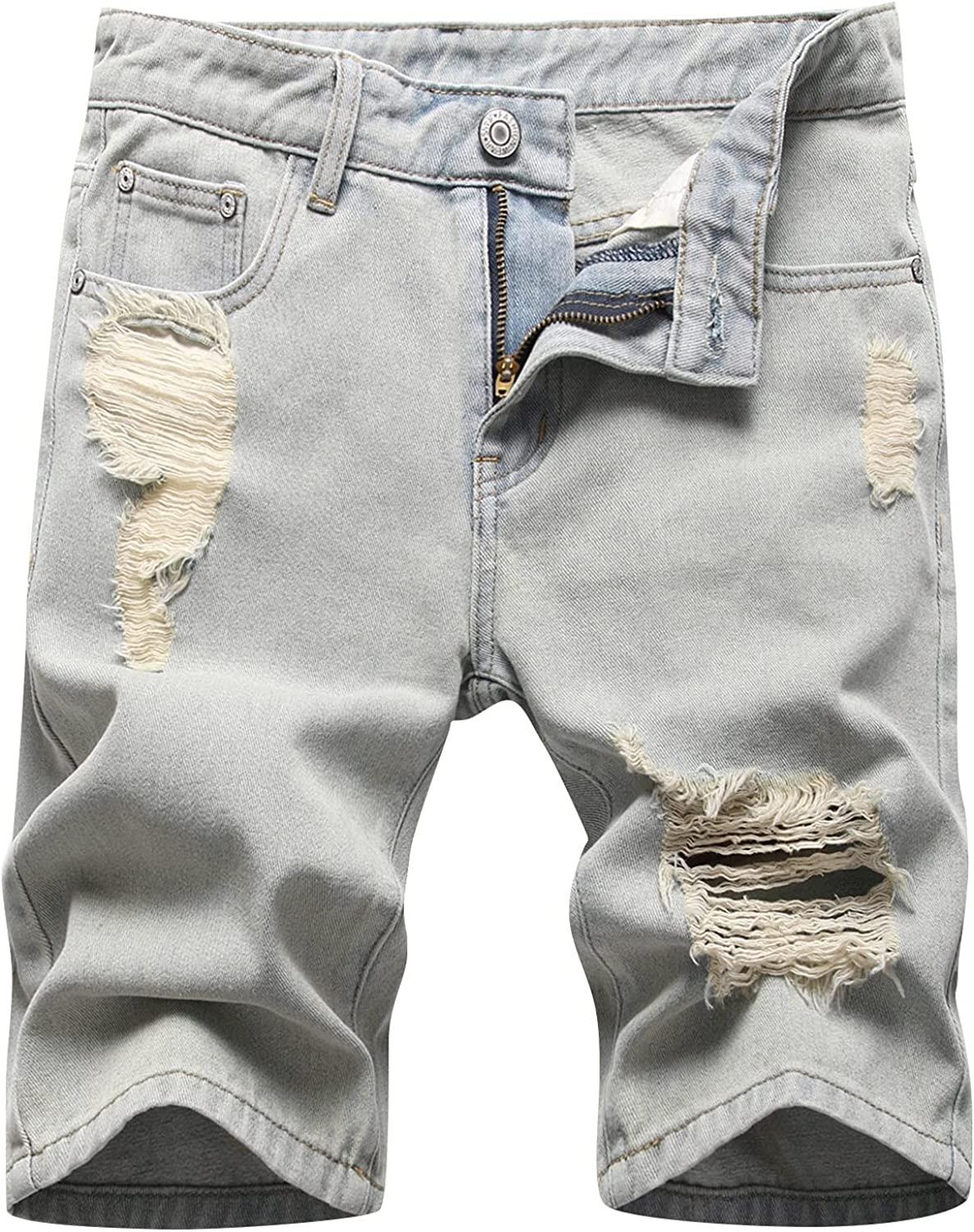 Men's Ripped Jeans Shorts Cut Off Frayed Retro Denim Shorts with Patches Summer Fashion Casual Short Pants - Limsea