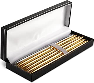 Ballpoint Pens Bulk - 6-Pack Metal Ballpoint Pens, 0.7mm Fine Point, Business Pens for Personal, or Business Use, 5 Gold, 1 Silver, Storage Case Included
