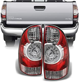 For 2005-2015 Toyota Tacoma Pickup Truck Red Clear Rear Tail Lights Brake Lamps Replacement Pair Left + Right