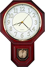 Traditional Schoolhouse Pendulum Luminous Wall Clock Chimes Hourly with Westminster Melody Made in Taiwan, 4AA Batteries Included (PP0258-1L Red Mahogany)