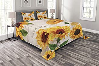Lunarable Sunflower Bedspread, Romantic Flowers on Old Fashioned Letters Postcards Newspapers, Decorative Quilted 3 Piece Coverlet Set with 2 Pillow Shams, Queen Size, Fern Green