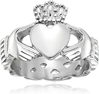 Crucible Jewelry Mens Stainless Steel Claddagh with Celtic Knot Eternity Design Ring, White