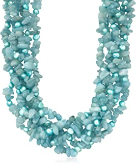5-6mm Blue Cultured Pearl and Milky Aquamarine Torsade Necklace With Sterling Silver