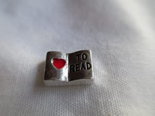Floating Love to Read Charm for Glass Lockets