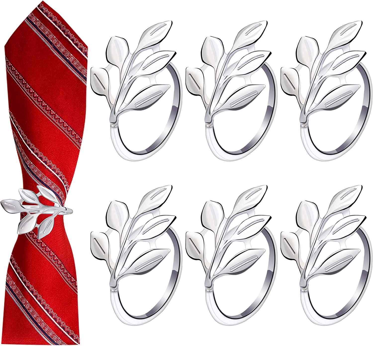 WBCBEC 6 Reservation Pieces Silver Leaf Recommended Rings Napkin Holde Ring