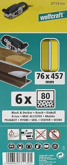 Wolfcraft 3111000 Bande abrasive 6 pi/èces Grain 40 76 x 457 mm