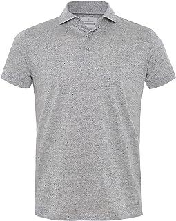 Thomas Maine Men's Knitted Merino Linen Striped Polo Shirt Grey