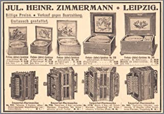 Past Time Ads 1901 Print Ad Jul.Heinr.Zimmerman Music Boxes Imperial Accordions Printed Advertisement