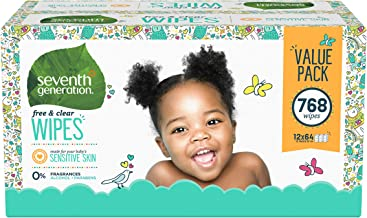 Seventh Generation Baby Wipes, Free & Clear Unscented and Sensitive, Gentle as Water, with Flip Top Dispenser, 768 Count (...