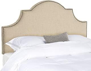 Safavieh Hallmar Hemp Linen Upholstered Arched Headboard - Brass Nailhead (Queen)