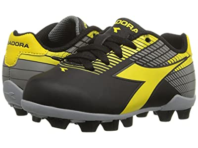 Diadora Kids Ladro MD JR Soccer (Toddler/Little Kid/Big Kid) (Black/Yellow/Grey) Kids Shoes