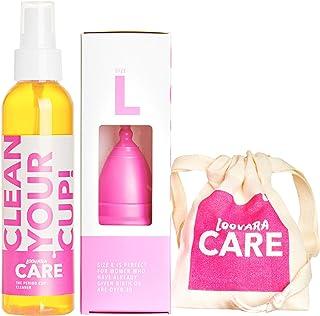 Loovara – menstruationsmugg med rengöringsmedel (storlek L) | 100 % naturgummi Made in Germany | vegan, silikonfri, utan b...